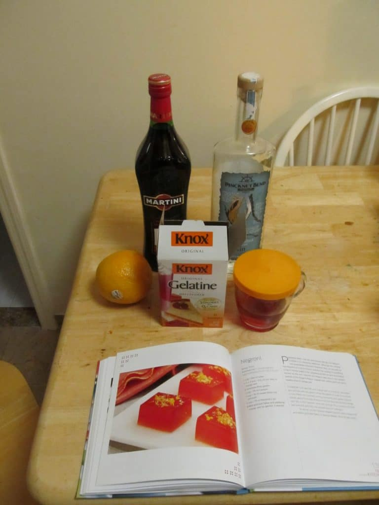 Ingredients in a Negroni Jello shot