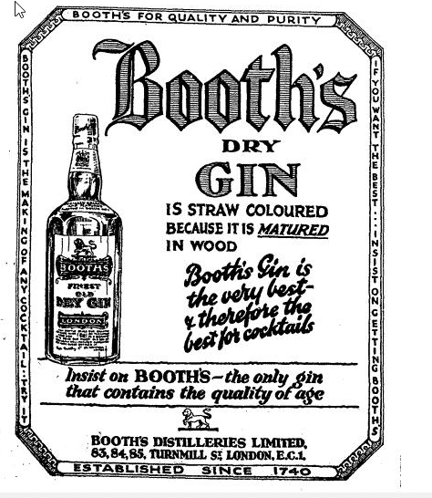 Booth's Dry Gin London Times, 2 Feb 1925