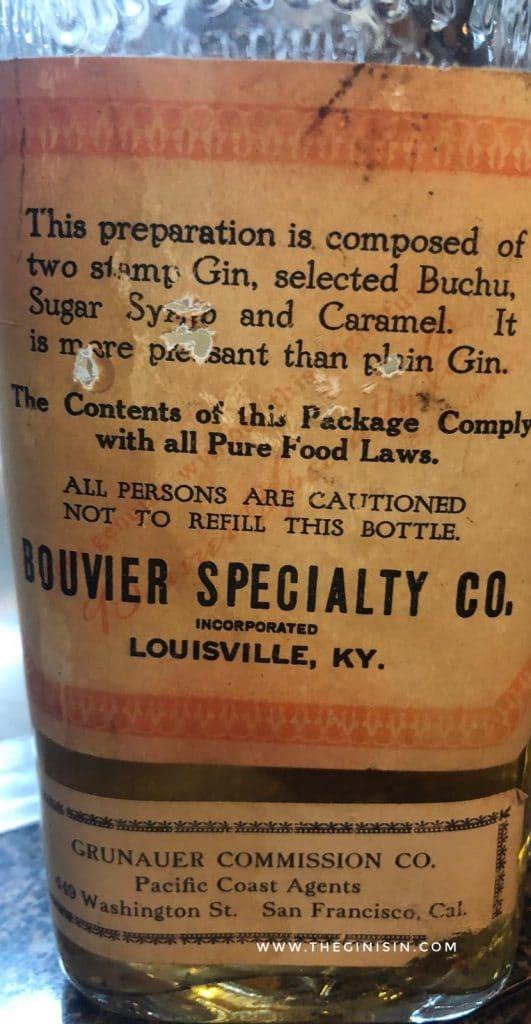 Dr. C. Bouvier Buchu Gin, Bottle Back