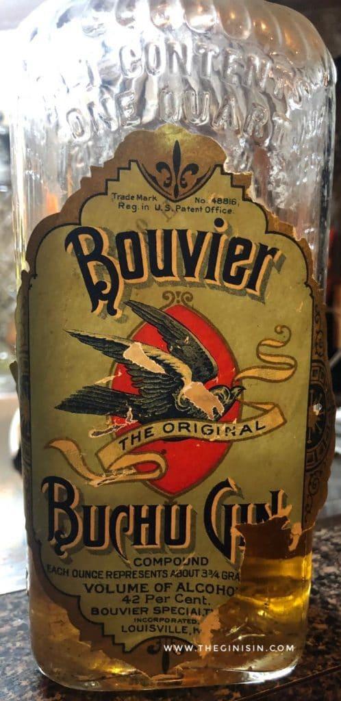 Dr. C. Bouvier's Buchu Gin, Bottle Front