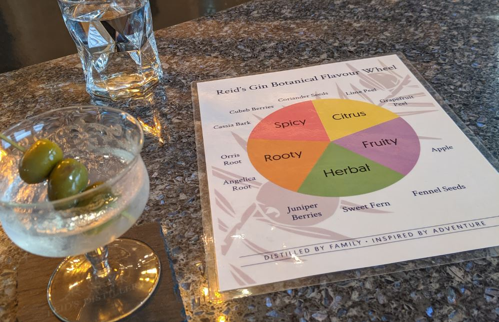 Martini with gin tasting wheel in background.